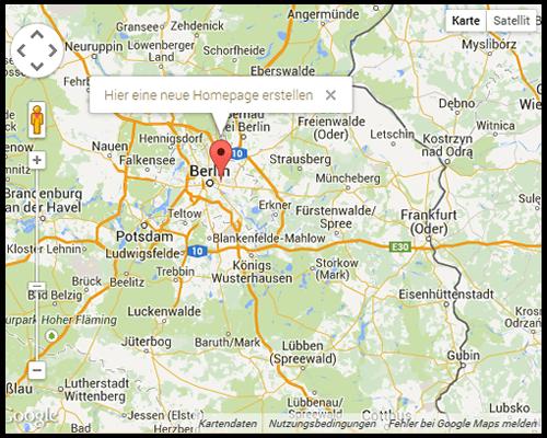 Karte auf der Homepage