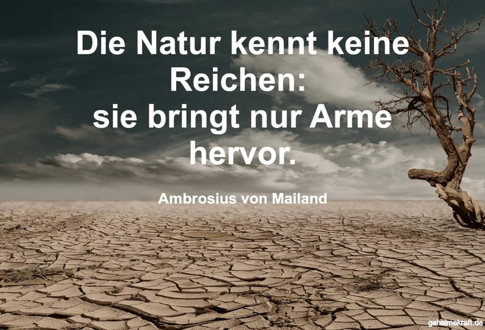 Die Natur kennt keine Reichen:  sie bringt nur...