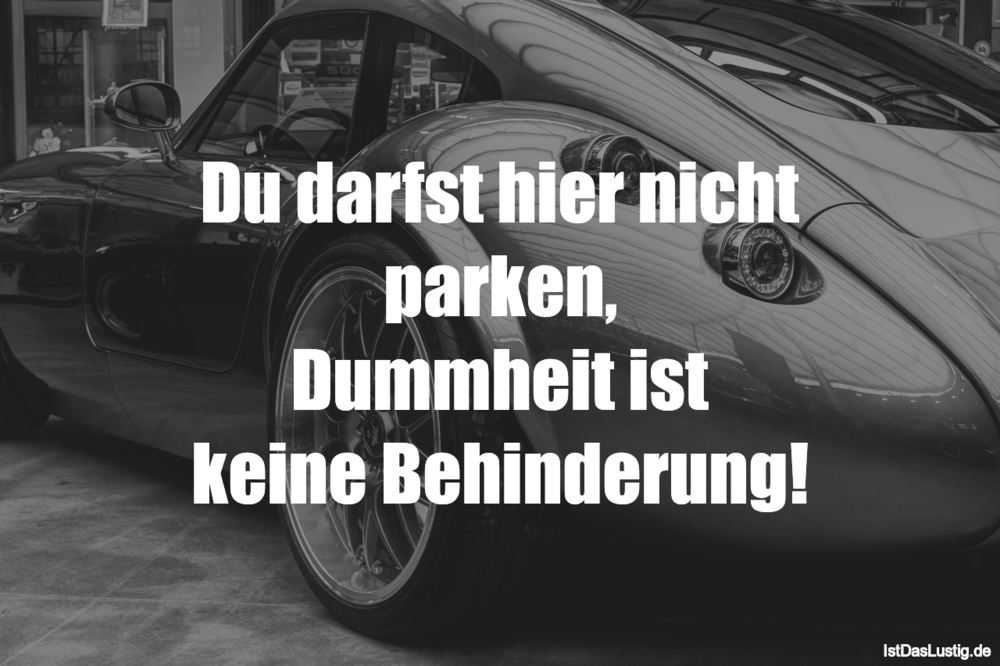 Lustiger BilderSpruch - Du darfst hier nicht parken, Dummheit ist keine...