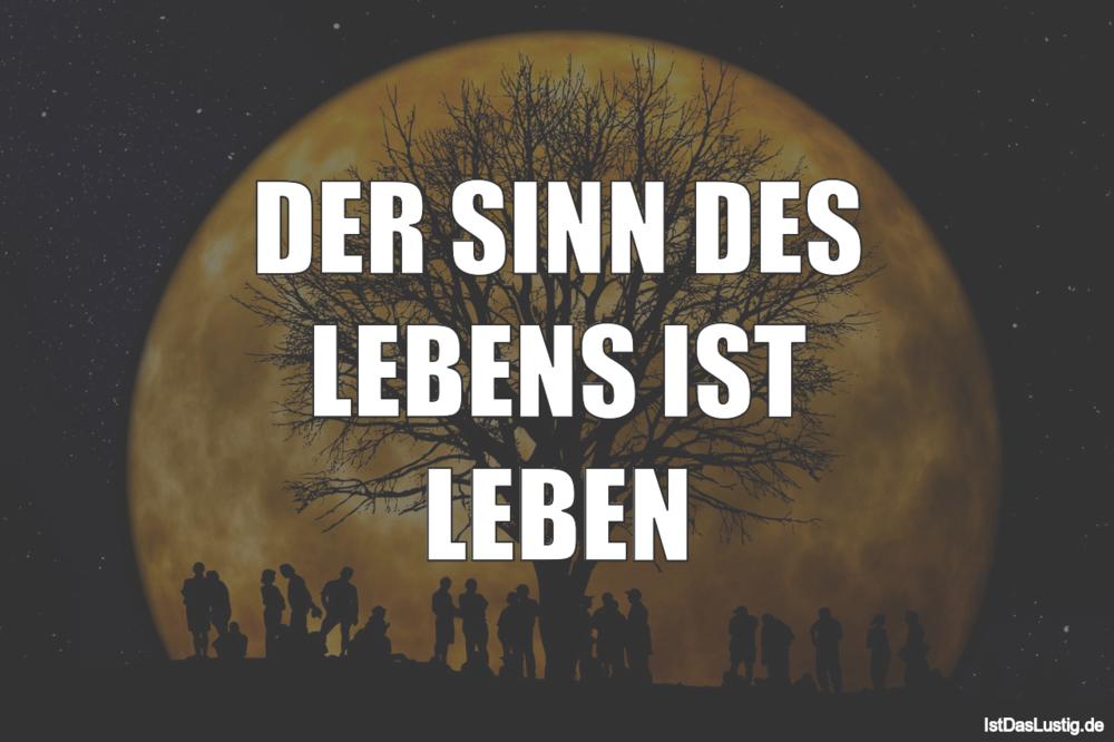 Lustiger BilderSpruch - DER SINN DES LEBENS IST LEBEN
