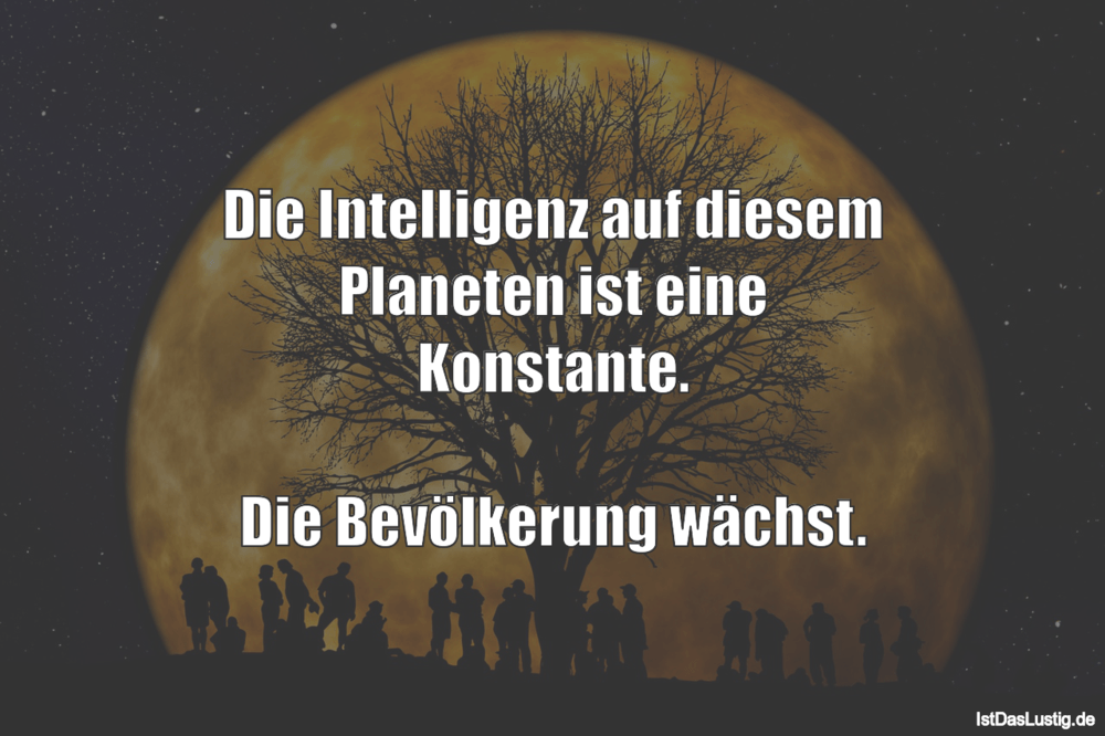 Lustiger BilderSpruch - Die Intelligenz auf diesem Planeten ist eine...