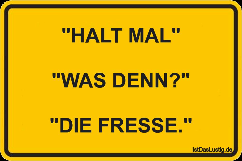 """Lustiger BilderSpruch - """"HALT MAL""""  """"WAS DENN?""""  """"DIE FRESSE."""""""