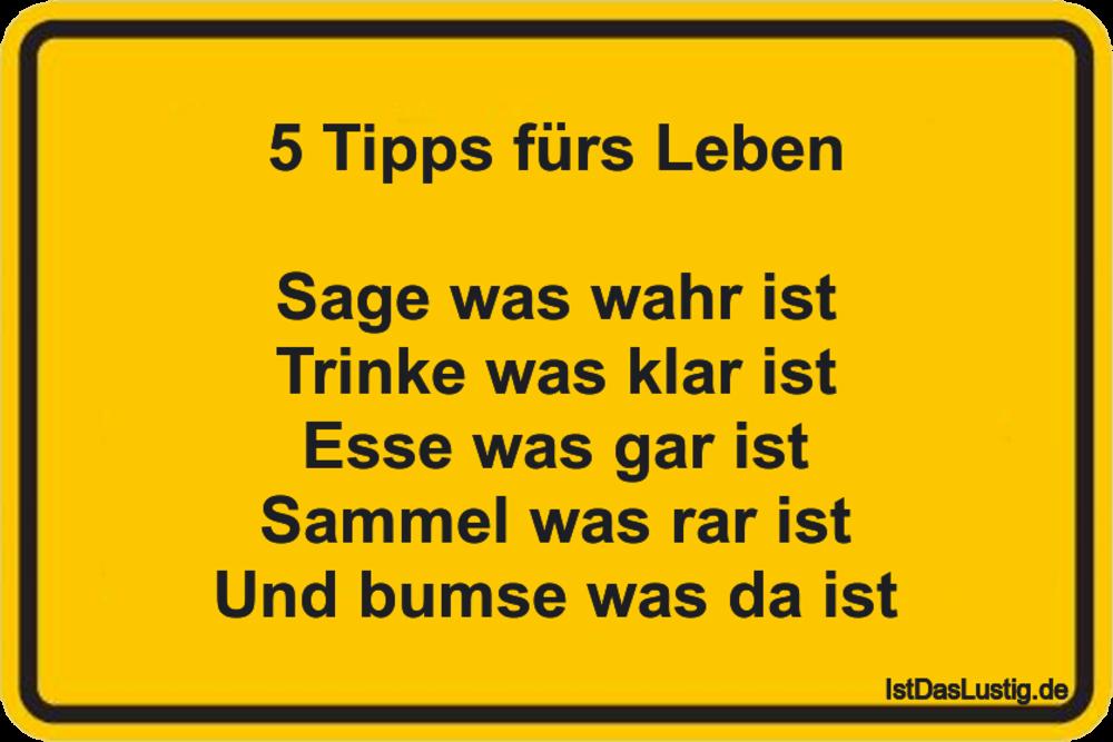 Lustiger BilderSpruch - 5 Tipps fürs Leben  Sage was wahr ist Trinke wa...