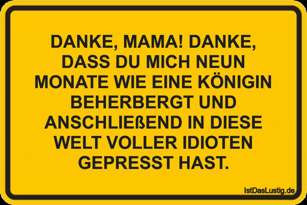 Lustiger BilderSpruch - DANKE, MAMA! DANKE, DASS DU MICH NEUN MONATE...