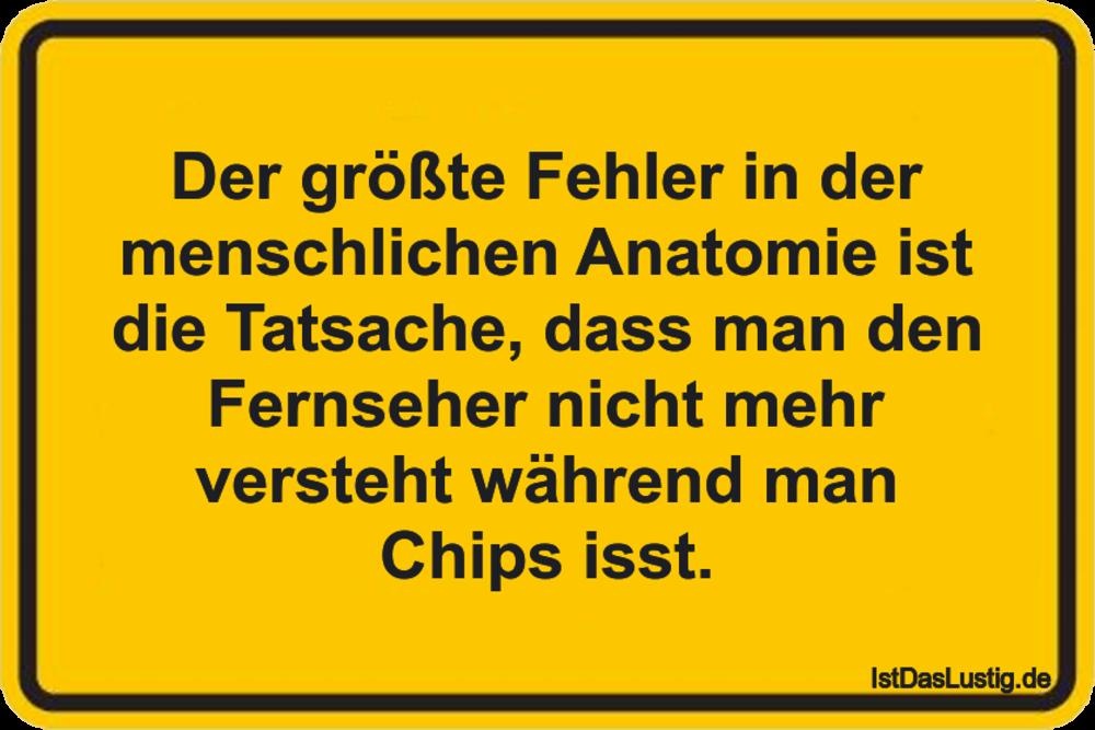 Lustiger BilderSpruch - Der größte Fehler in der menschlichen Anatomie...