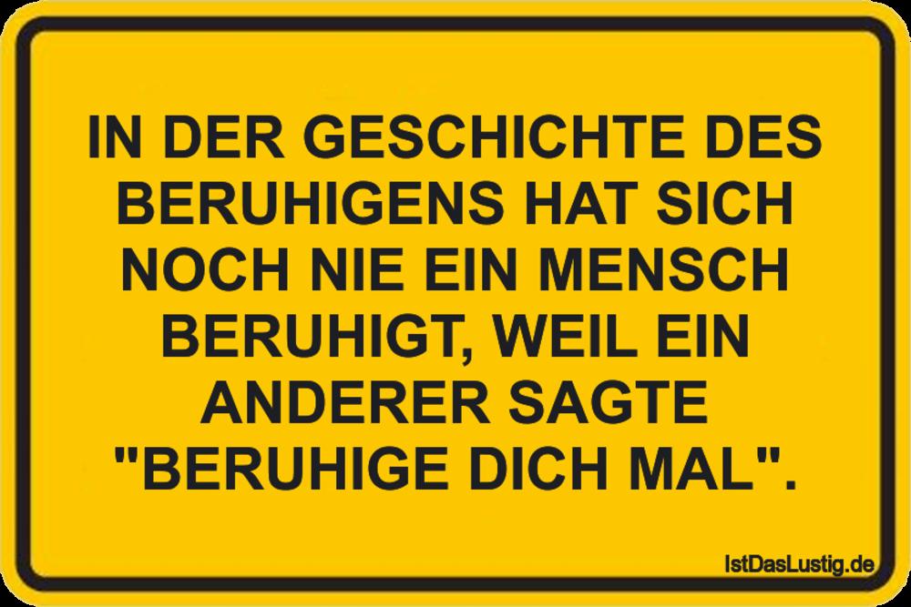 Lustiger BilderSpruch - IN DER GESCHICHTE DES BERUHIGENS HAT SICH NOCH ...
