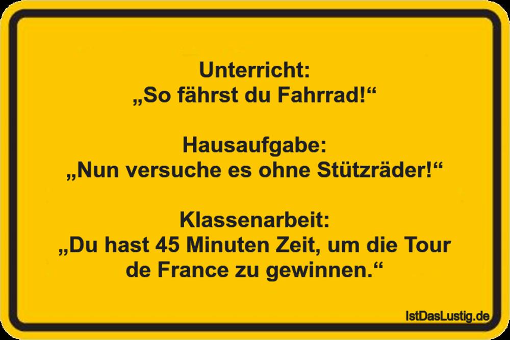 """Lustiger BilderSpruch - Unterricht: """"So fährst du Fahrrad!""""..."""