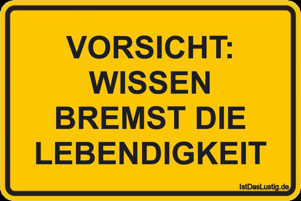Lustiger BilderSpruch - VORSICHT: WISSEN BREMST DIE LEBENDIGKEIT