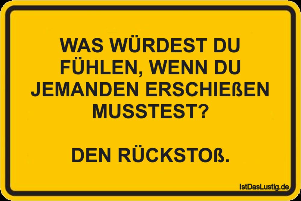 Lustiger BilderSpruch - WAS WÜRDEST DU FÜHLEN, WENN DU JEMANDEN ERSCHIE...