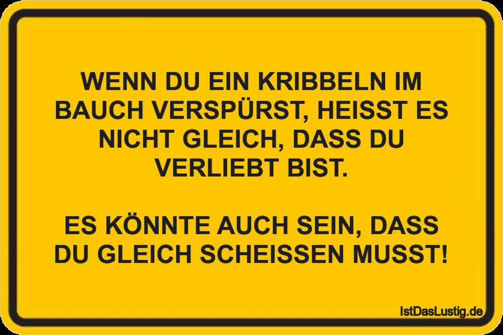Lustiger BilderSpruch - WENN DU EIN KRIBBELN IM BAUCH VERSPÜRST, HEISST...