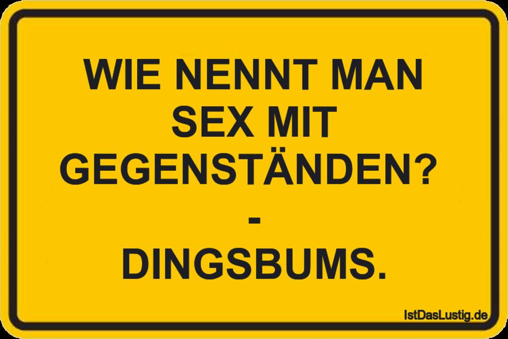 Lustiger BilderSpruch - WIE NENNT MAN SEX MIT GEGENSTÄNDEN?  - DINGSBUMS.