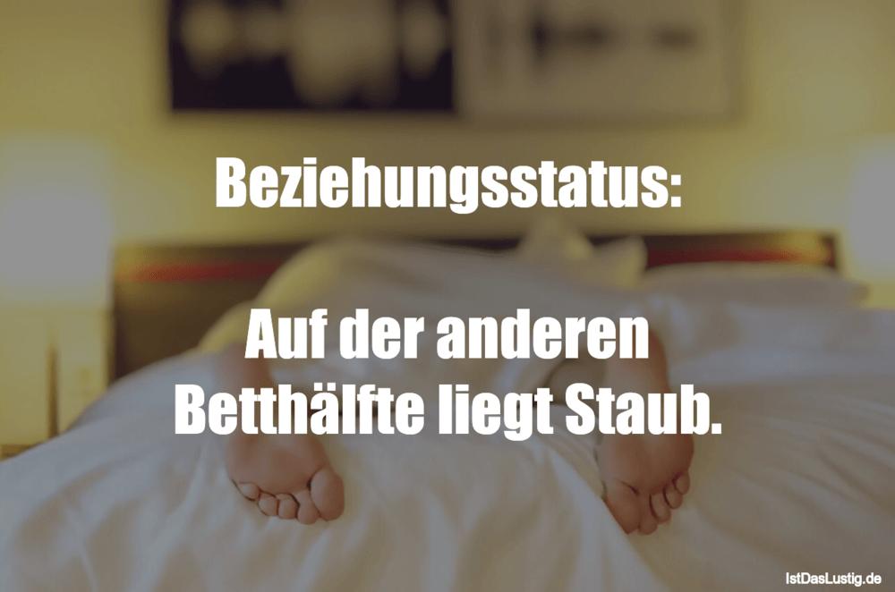 Lustiger BilderSpruch - Beziehungsstatus:  Auf der anderen Betthälfte...