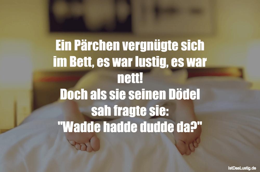 Lustiger BilderSpruch - Ein Pärchen vergnügte sich im Bett, es war...