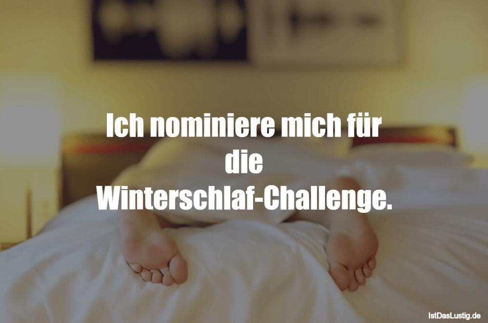 Lustiger BilderSpruch - Ich nominiere mich für die Winterschlaf-Challenge.