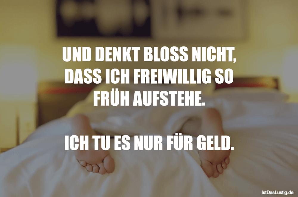 Lustiger BilderSpruch - UND DENKT BLOSS NICHT, DASS ICH FREIWILLIG SO...