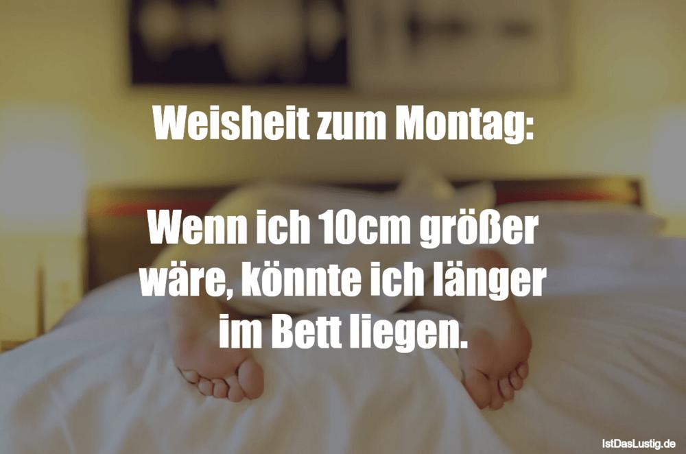 Lustiger BilderSpruch - Weisheit zum Montag:  Wenn ich 10cm größer...