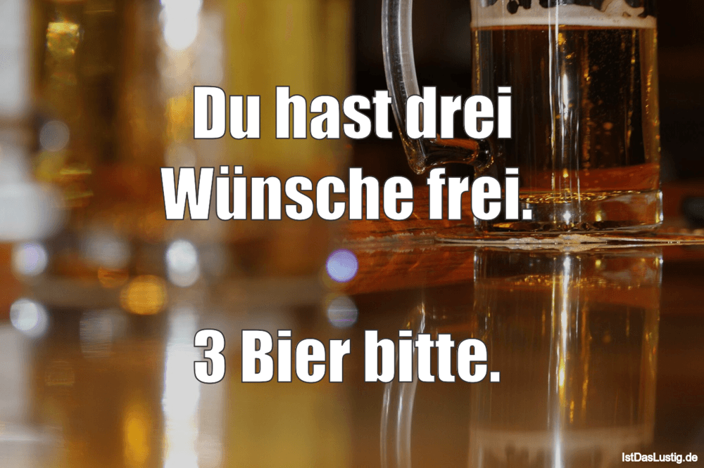 Lustiger BilderSpruch - Du hast drei Wünsche frei.   3 Bier bitte.