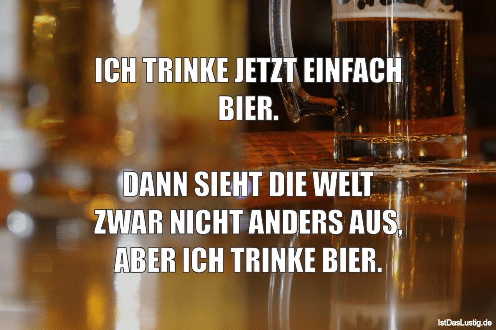 Lustiger BilderSpruch - ICH TRINKE JETZT EINFACH BIER.  DANN SIEHT DIE...
