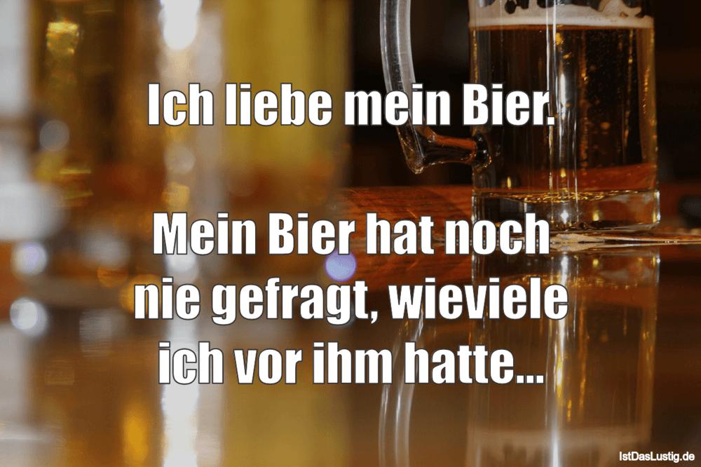 Lustiger BilderSpruch - Ich liebe mein Bier.  Mein Bier hat noch nie...