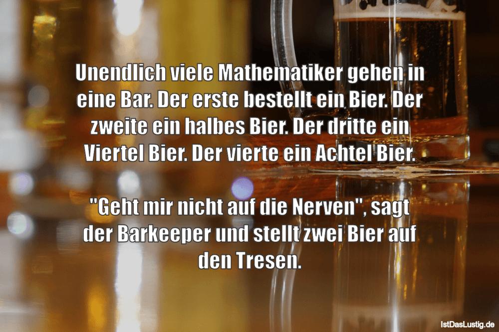 Lustiger BilderSpruch - Unendlich viele Mathematiker gehen in eine Bar....