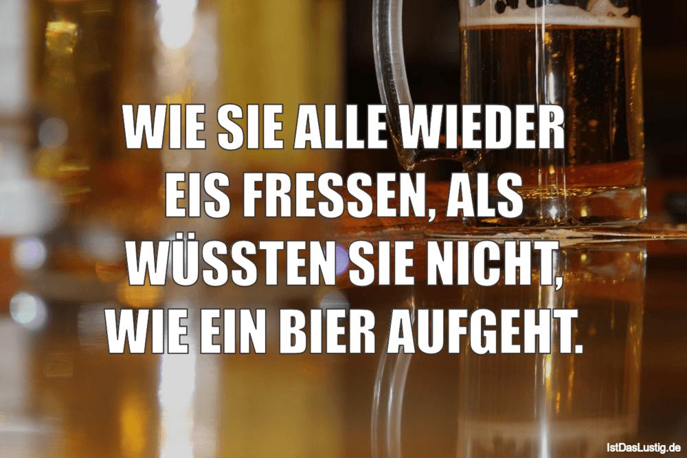 Lustiger BilderSpruch - WIE SIE ALLE WIEDER EIS FRESSEN, ALS WÜSSTEN...