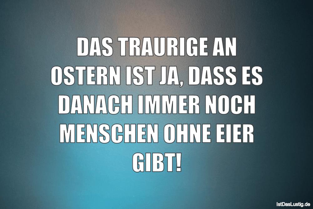 Lustiger BilderSpruch - DAS TRAURIGE AN OSTERN IST JA, DASS ES DANACH...