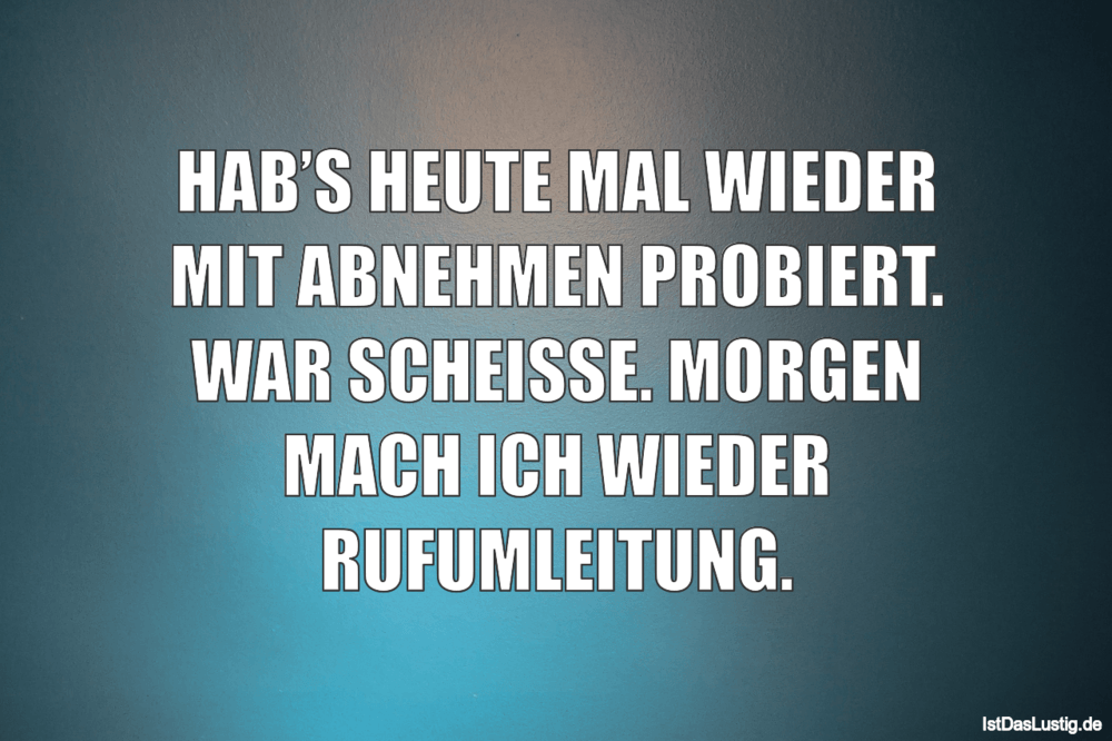 Lustiger BilderSpruch - HAB'S HEUTE MAL WIEDER MIT ABNEHMEN PROBIERT....