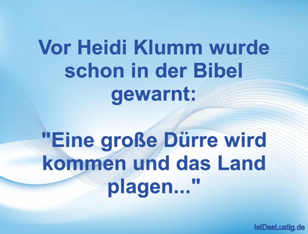 Lustiger BilderSpruch - Vor Heidi Klumm wurde schon in der Bibel gewarn...