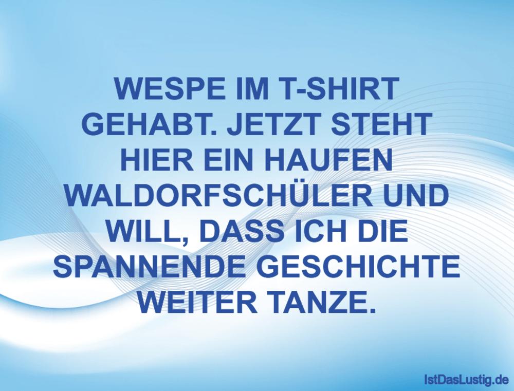 Lustiger BilderSpruch - WESPE IM T-SHIRT GEHABT. JETZT STEHT HIER EIN H...