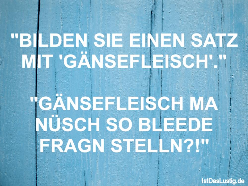 """Lustiger BilderSpruch - """"BILDEN SIE EINEN SATZ MIT 'GÄNSEFLEISCH'.""""  """"G..."""