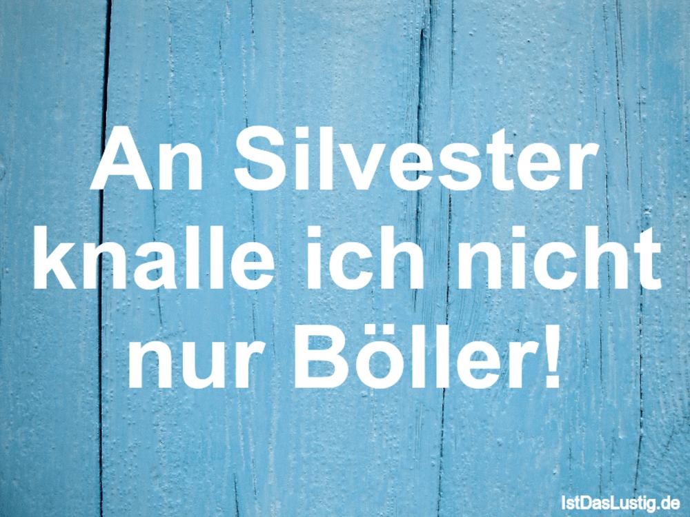 Lustiger BilderSpruch - An Silvester knalle ich nicht nur Böller!