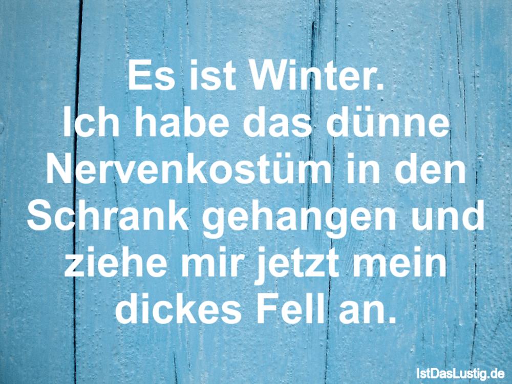 Es ist Winter. Ich habe das dünne Nervenkostüm    IstDasLustig.de