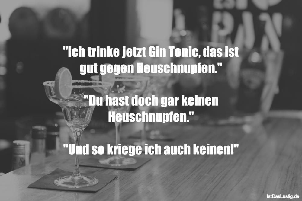 """Lustiger BilderSpruch - """"Ich trinke jetzt Gin Tonic, das ist gut gegen ..."""