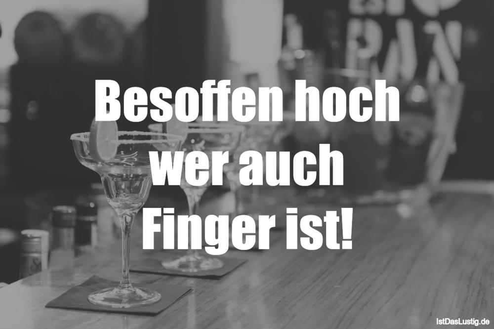 Lustiger BilderSpruch - Besoffen hoch wer auch Finger ist!