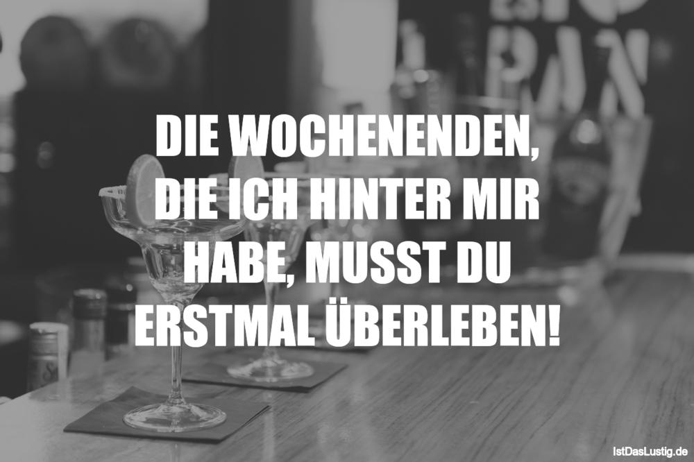 Lustiger BilderSpruch - DIE WOCHENENDEN, DIE ICH HINTER MIR HABE, MUSST...