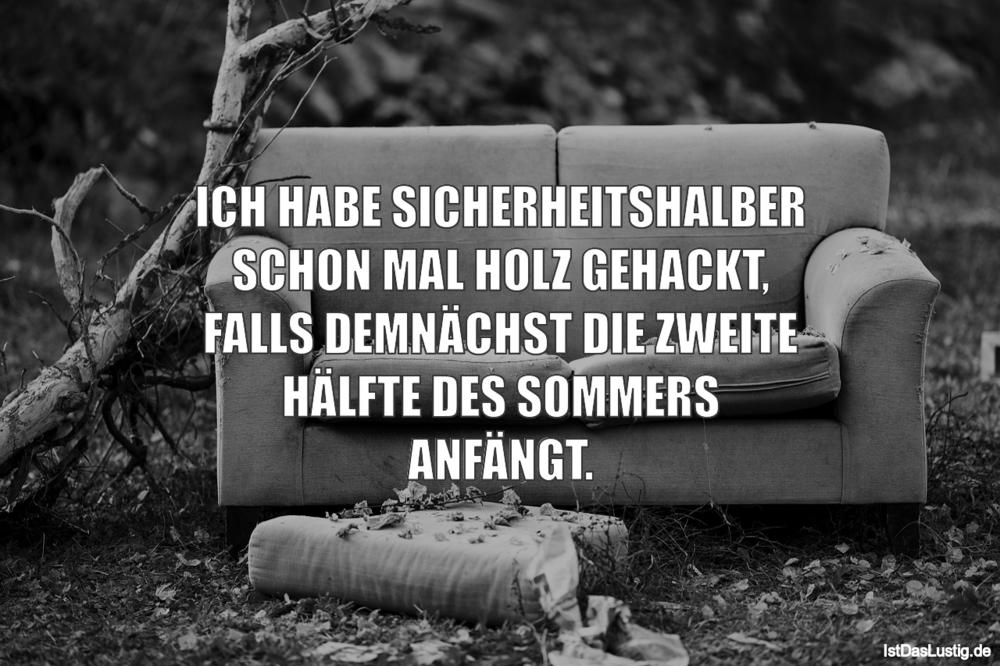 Lustiger BilderSpruch - ICH HABE SICHERHEITSHALBER SCHON MAL HOLZ...