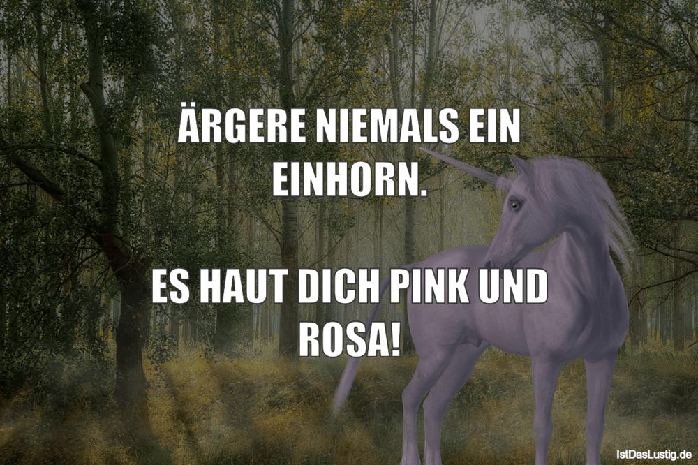 Lustiger BilderSpruch - ÄRGERE NIEMALS EIN EINHORN.  ES HAUT DICH PINK...