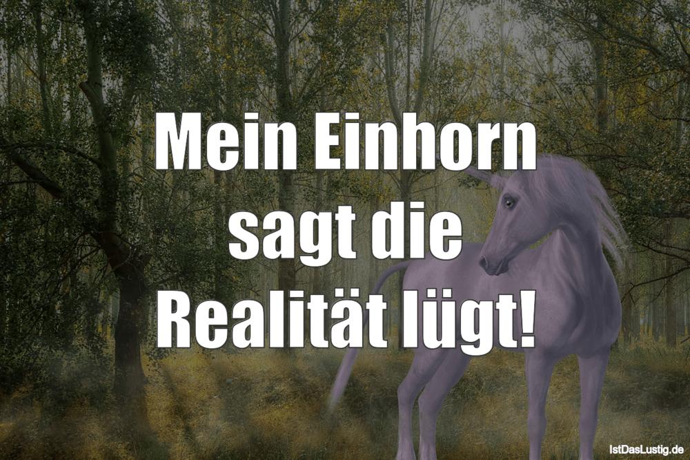 Lustiger BilderSpruch - Mein Einhorn sagt die Realität lügt!