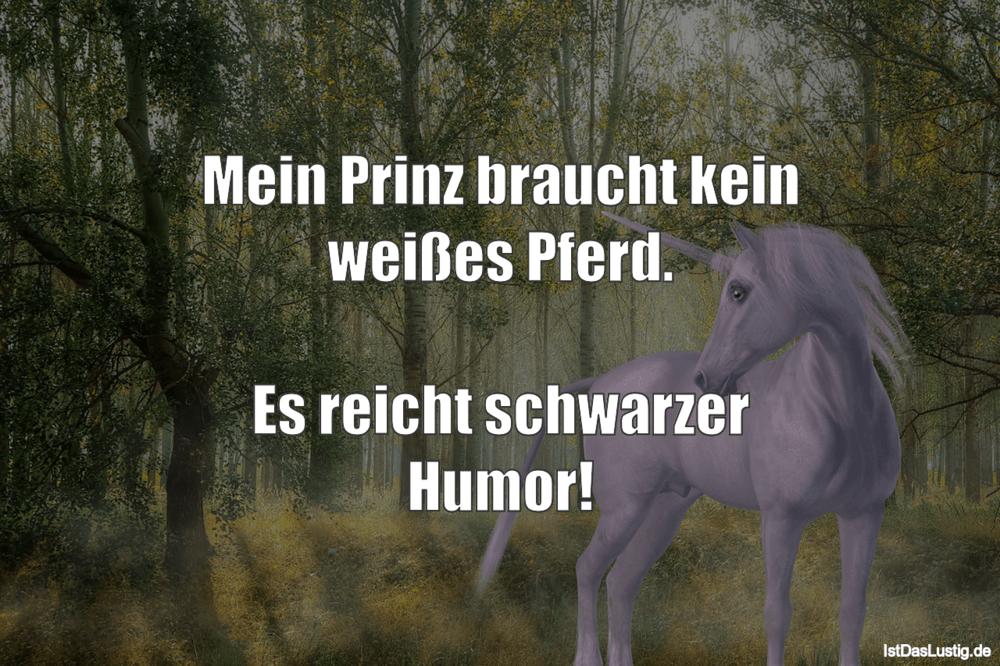 Lustiger BilderSpruch - Mein Prinz braucht kein weißes Pferd.  Es...