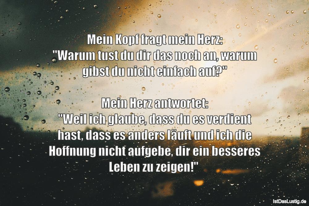 """Lustiger BilderSpruch - Mein Kopf fragt mein Herz: """"Warum tust du dir..."""