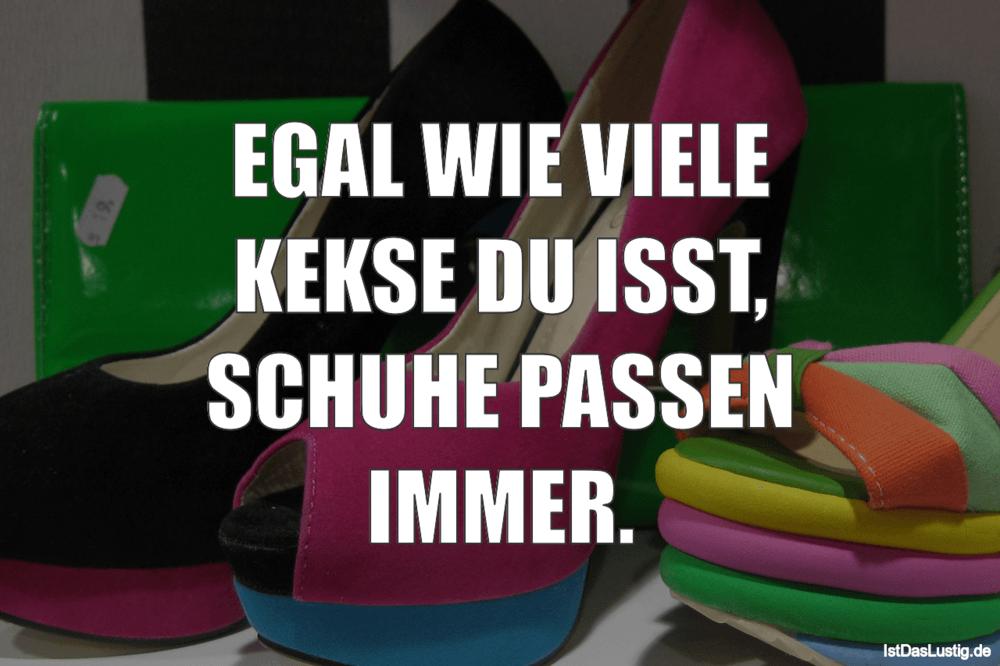Lustiger BilderSpruch - EGAL WIE VIELE KEKSE DU ISST, SCHUHE PASSEN IMMER.