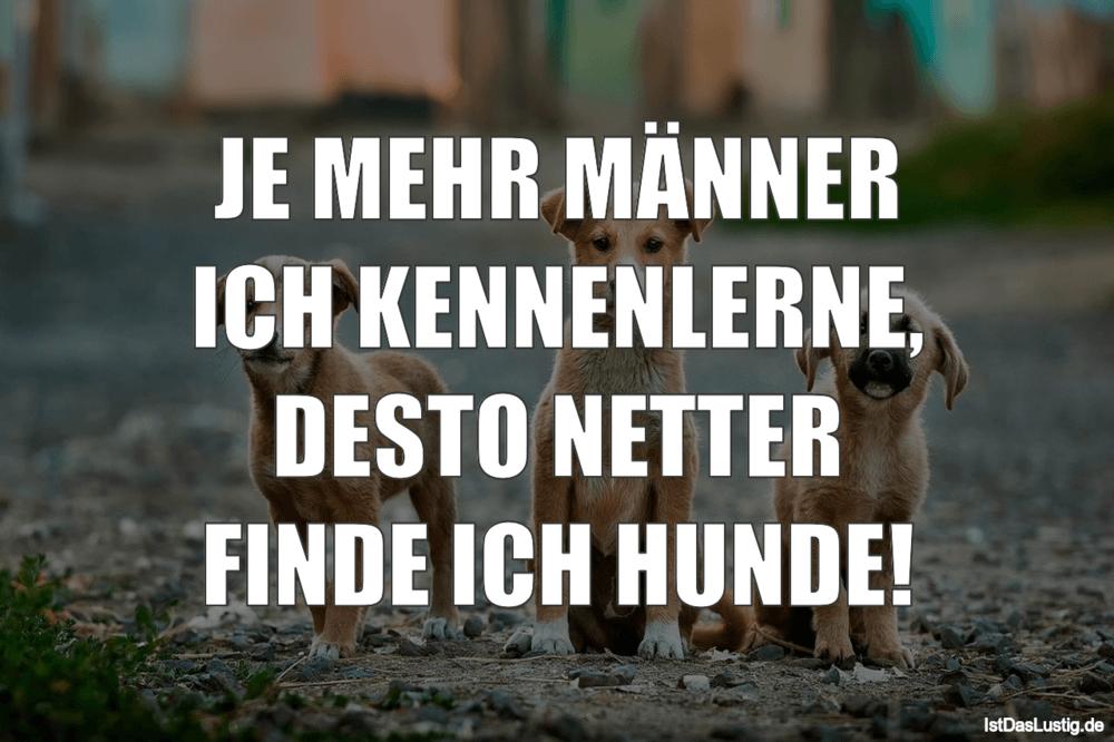 Lustiger BilderSpruch - JE MEHR MÄNNER ICH KENNENLERNE, DESTO NETTER...