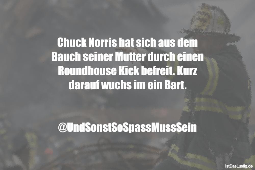Lustiger BilderSpruch - Chuck Norris hat sich aus dem Bauch seiner...