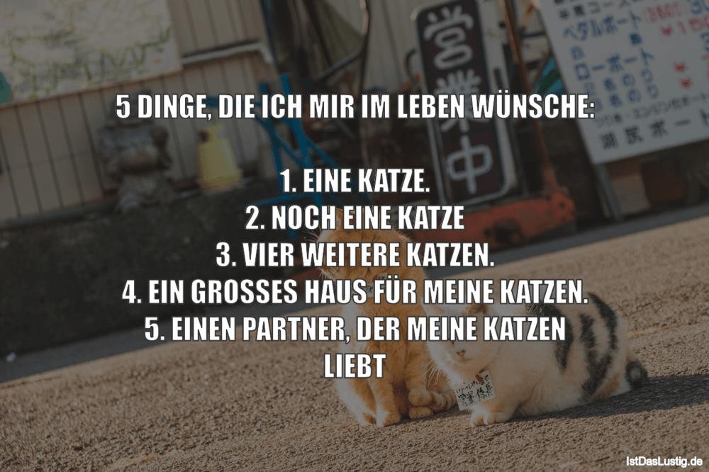 Lustiger BilderSpruch - 5 DINGE, DIE ICH MIR IM LEBEN WÜNSCHE:  1. EINE...