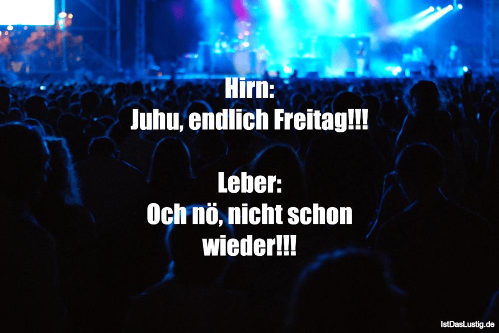 Lustiger BilderSpruch - Hirn: Juhu, endlich Freitag!!!  Leber: Och nö,...