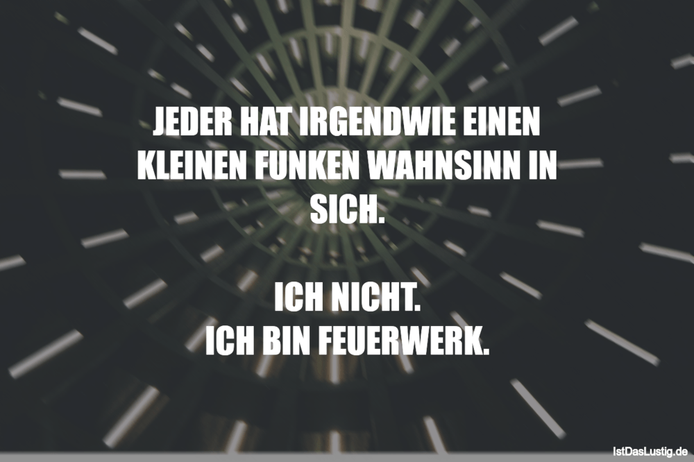 Lustiger BilderSpruch - JEDER HAT IRGENDWIE EINEN KLEINEN FUNKEN...