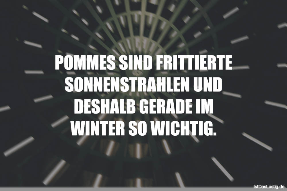 Lustiger BilderSpruch - POMMES SIND FRITTIERTE SONNENSTRAHLEN UND...