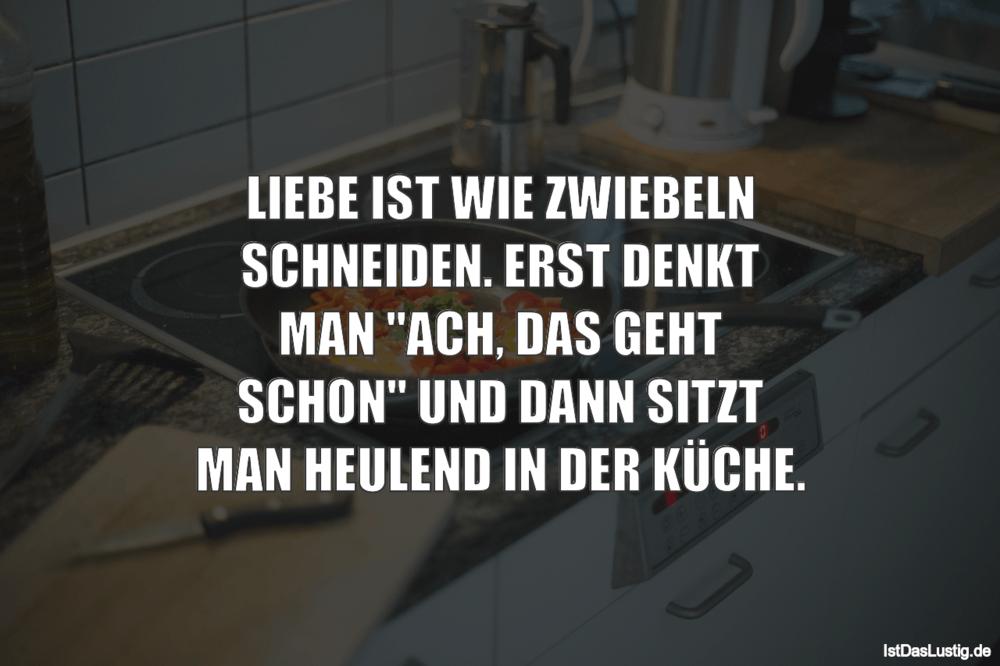 Lustiger BilderSpruch - LIEBE IST WIE ZWIEBELN SCHNEIDEN. ERST DENKT...