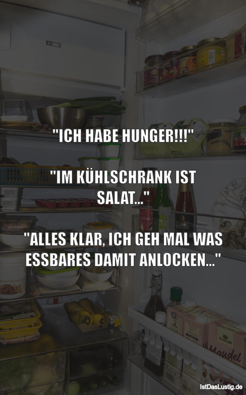 """Lustiger BilderSpruch - """"ICH HABE HUNGER!!!""""  """"IM KÜHLSCHRANK IST..."""