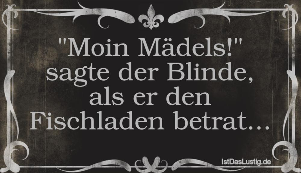 """Lustiger BilderSpruch - """"Moin Mädels!"""" sagte der Blinde, als er den Fis..."""